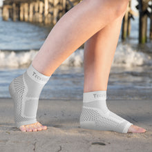 Ankle & Foot Compression Sleeve In 3 Sizes - White & Gray, 1 Pair