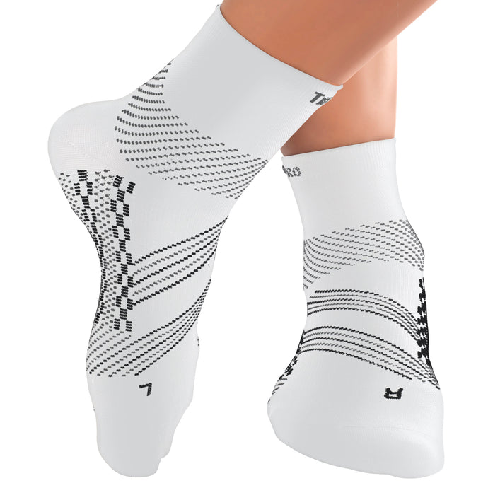 TechWare Pro® Thin Compression Sock In 3 Sizes - White & Gray, 1 Pair