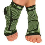 Ankle & Foot Compression Sleeve In 3 Sizes - Black & Green, 1 Pair