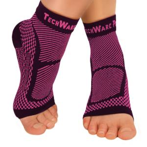 TechWare Pro® Ankle / Foot Compression Sleeve In 2 Sizes - Black & Pink, 1 Pair