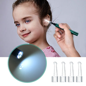 Wireless WiFi-enabled Ear Otoscope and Cleaning Tool with Light and Camera