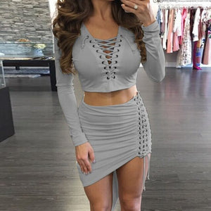 Asymmetric Crop Top+Skirt