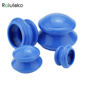 Raiuleko 4pcs Natural Silicone Cupping Therapy Set Health Care Small Body Anti Cellulite Vacuum Silicone Massager Cupping Cups