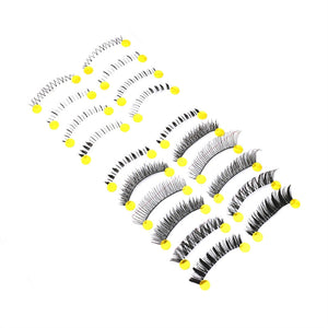 10 Pairs Handmade Invisible Clear Strip Band Thick Long Natural Soft Curly Japanese Fluctuation Fake Eyelash Upper and Lower Bottom Mixed Style False Eyelashes