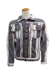 PLEATS FRONT JACKET CS-02 White/Purple Stripe