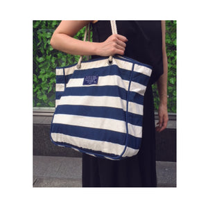 Border Canvas Tote bag SRC-223 White/Navy
