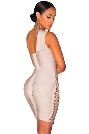 Apricot Lace Up One Shoulder Bandage Dress LAVELIQ - Laveliqus