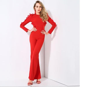 Red Open Back Flounced Decorative Trumpet  Jumpsuit