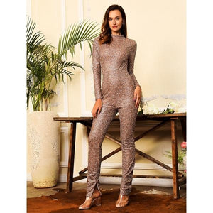 Zipper Decoration Glitter Glue Bead Material Bodycon Jumpsuit