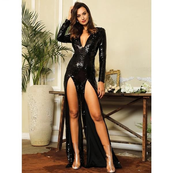 Black Deep V-Neck Cut Out Sequins Jumpsuit