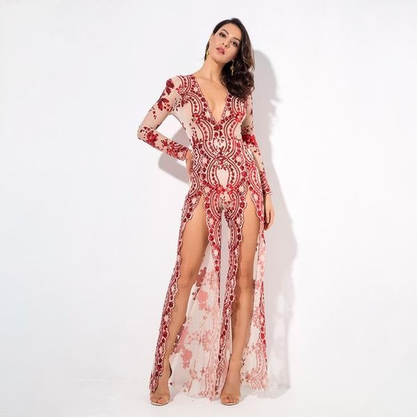 Red Flower Sequin Mesh Lining Deep V Neck Cut Out Jumpsuit