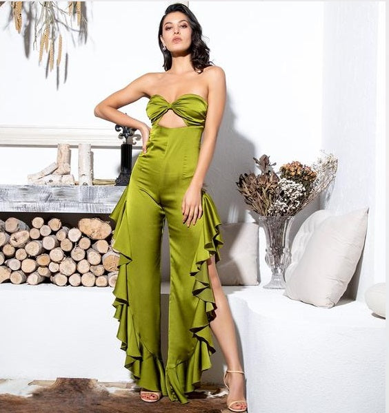 Green Tube Top Cut Out Side Slit Ruffled Jumpsuit
