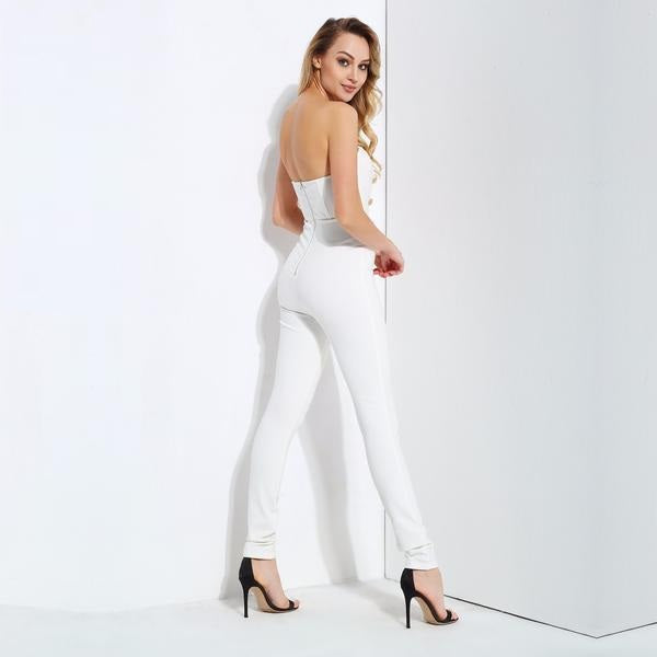 White Mesh Stitching Gold Buttons Slim Jumpsuit