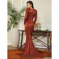 Deep V-Neck Cut Out Pleated Sequin Bodycon Long Dress