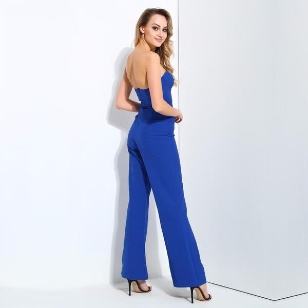Blue Mesh Stitching High Waist Speaker Modeling Jumpsuit