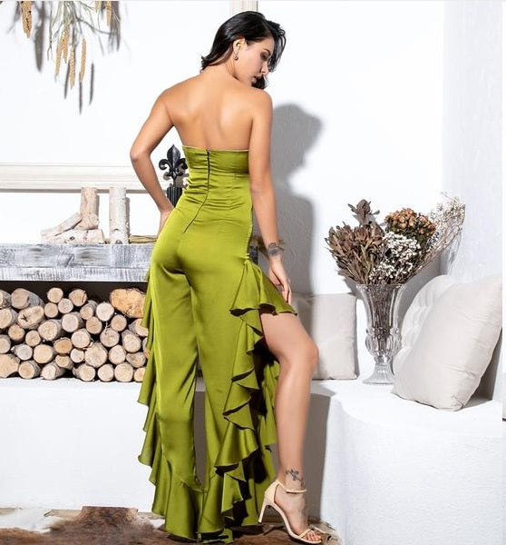 779c1813116 Green Tube Top Cut Out Side Slit Ruffled Jumpsuit – Laveliqus