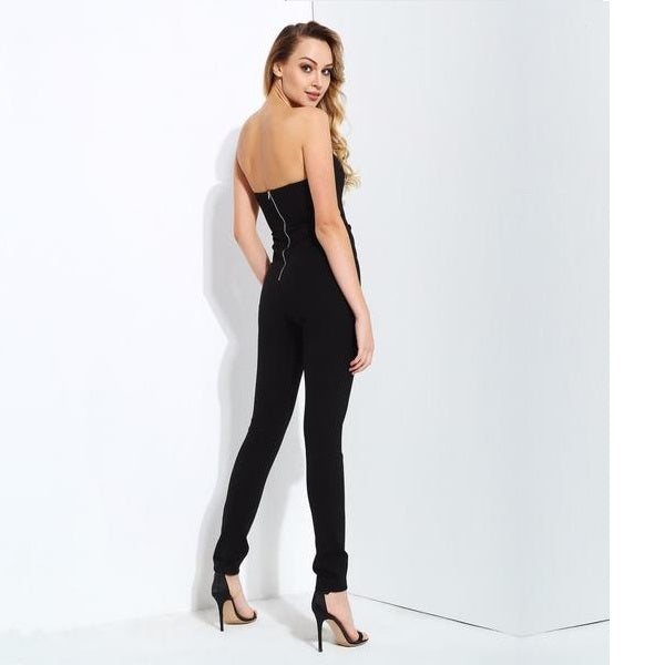 Black Mesh Stitching Gold Buttons Slim Jumpsuit