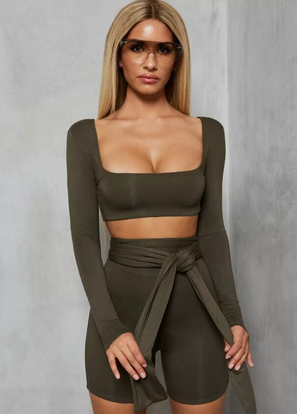 Long Sleeve Two Piece Set Women Square Collar Drawstring Sexy Crop Top and Shorts Set Backless Casual Women Set