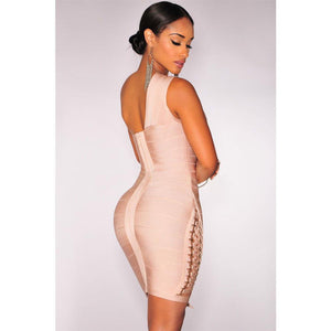 Apricot Lace Up One Shoulder Mini Bandage Dress LAVELIQ  - LAVELIQ