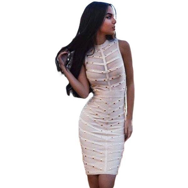 Apricot Knee Length Bandage Dress LAVELIQ  - LAVELIQ