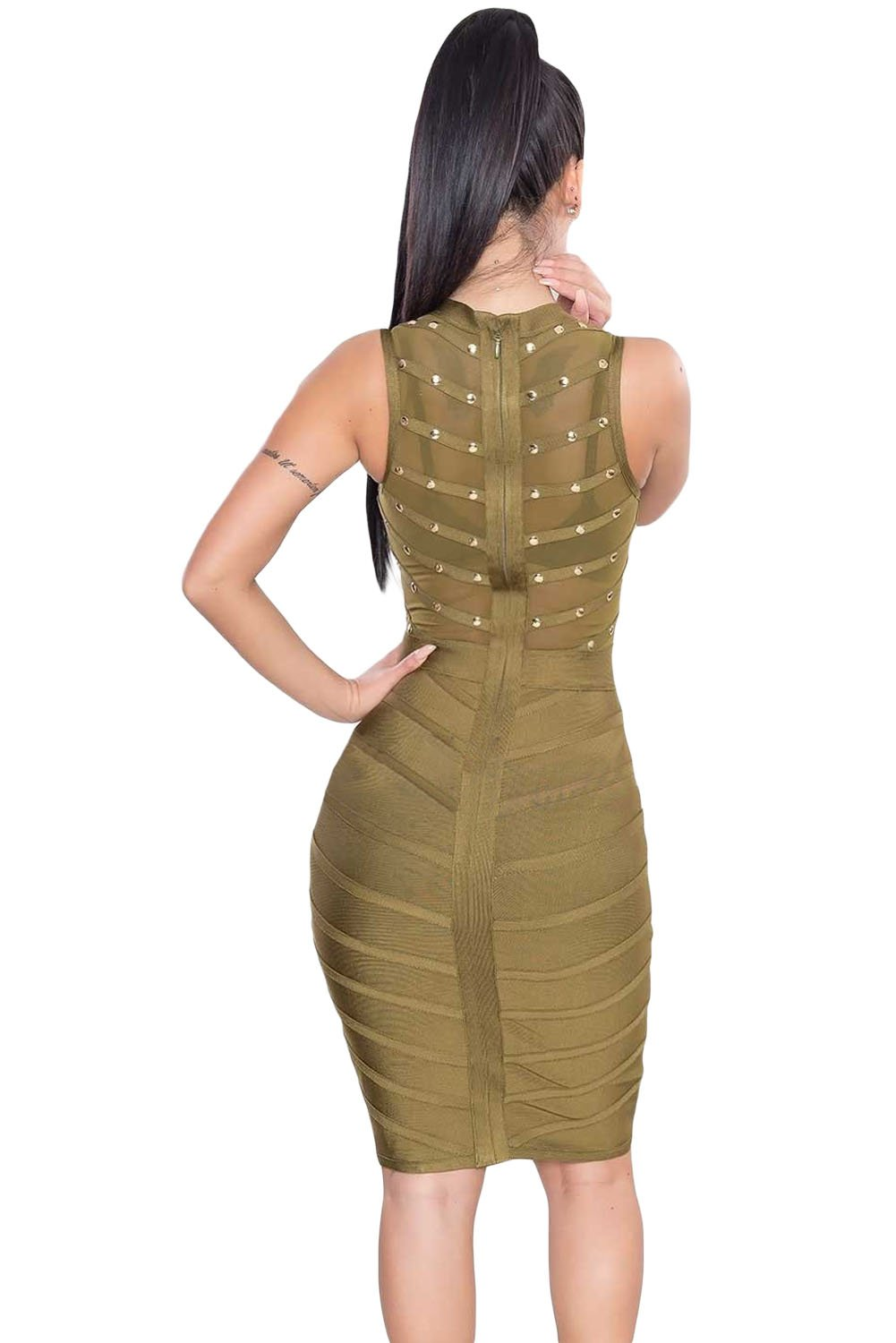 Army Green Studded Bandage Dress LAVELIQ - Laveliqus