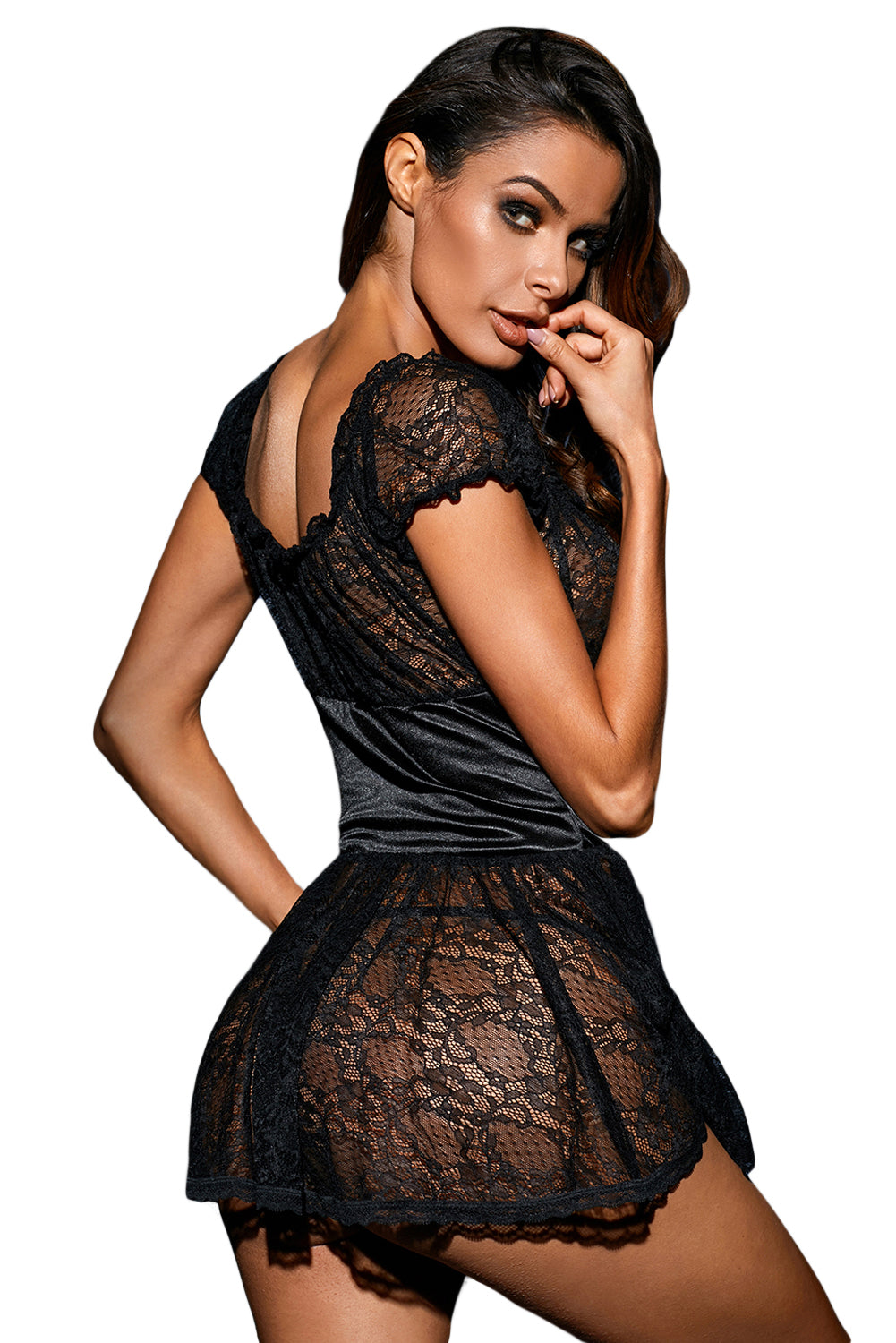 Bewitching Black Lace Babydoll With Pom-Poms Lingerie LAVELIQ