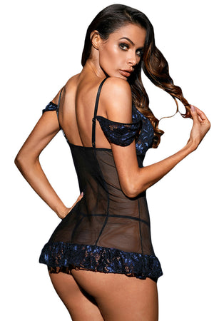 Bewitching Mesh Lace Chemise With G-String Lingerie LAVELIQ - Laveliqus