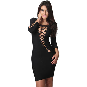 Black V-Neck Three Quarter Sleeve Bandage Dress LAVELIQ  - LAVELIQ - 1