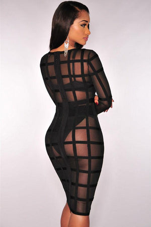 Black Bandage Caged Panty Lined Dress LAVELIQ - Laveliqus
