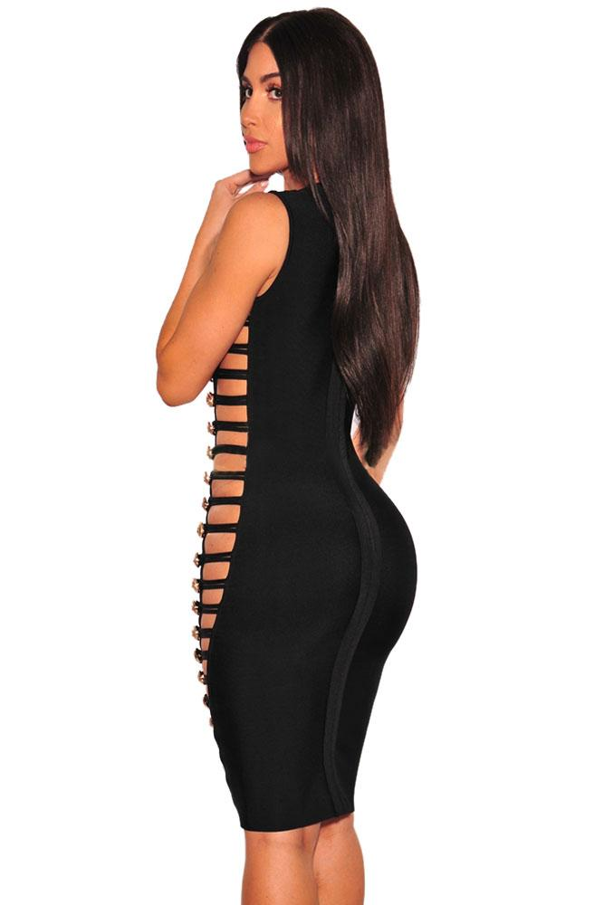Black Bandage Gold Button Cut Out Sides Dress LAVELIQ - Laveliqus