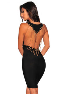 Black Bandage Gold Draped Chains Dress LAVELIQ FINAL SALE - Laveliqus