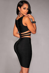 Black Cut-Out Sides Bandage Dress LAVELIQ - Laveliq