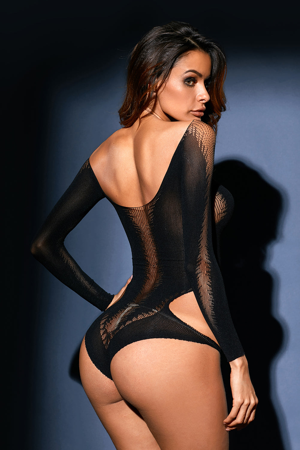 Black Cutout Detail Long Sleeve Off Shoulder Teddy Lingerie LAVELIQ