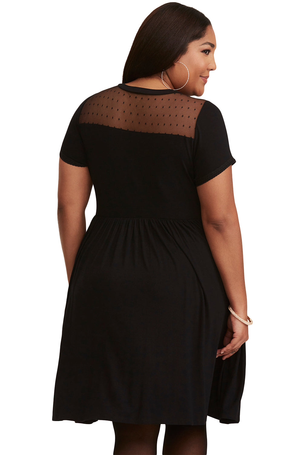 Black Dot Mesh Inset Plus Size Skater Dress LAVELIQ