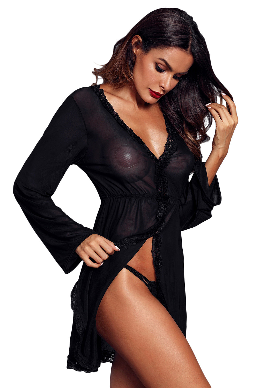 Black Flared Long Sleeve Babydoll With G String Lingerie LAVELIQ