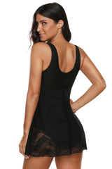 Black Flowy Lace Tank Overlay One Piece Swimsuit LAVELIQ