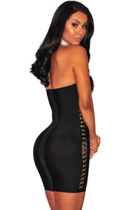 Black Gold Hook & Eye Strapless Bandage Dress LAVELIQ - Laveliqus