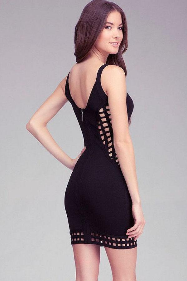 Black Grid Cut-Out Bandage Dress LAVELIQ - Laveliqus