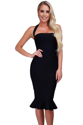 Black Halter Mermaid Midi Bodycon Bandage Dress With Flare LAVELIQ