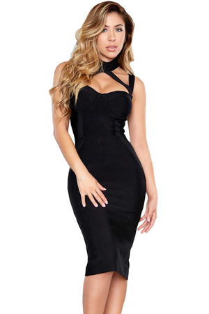 Black High Neck Hollow-Out Bandage Dress LAVELIQ - Laveliqus