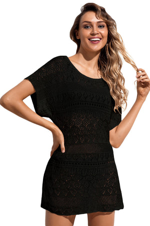 Black Hollow Lace Crochet Short Cover Up Dress LAVELIQ - Laveliqus
