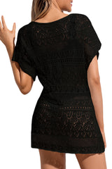 Black Hollow Lace Crochet Short Cover Up Dress LAVELIQ