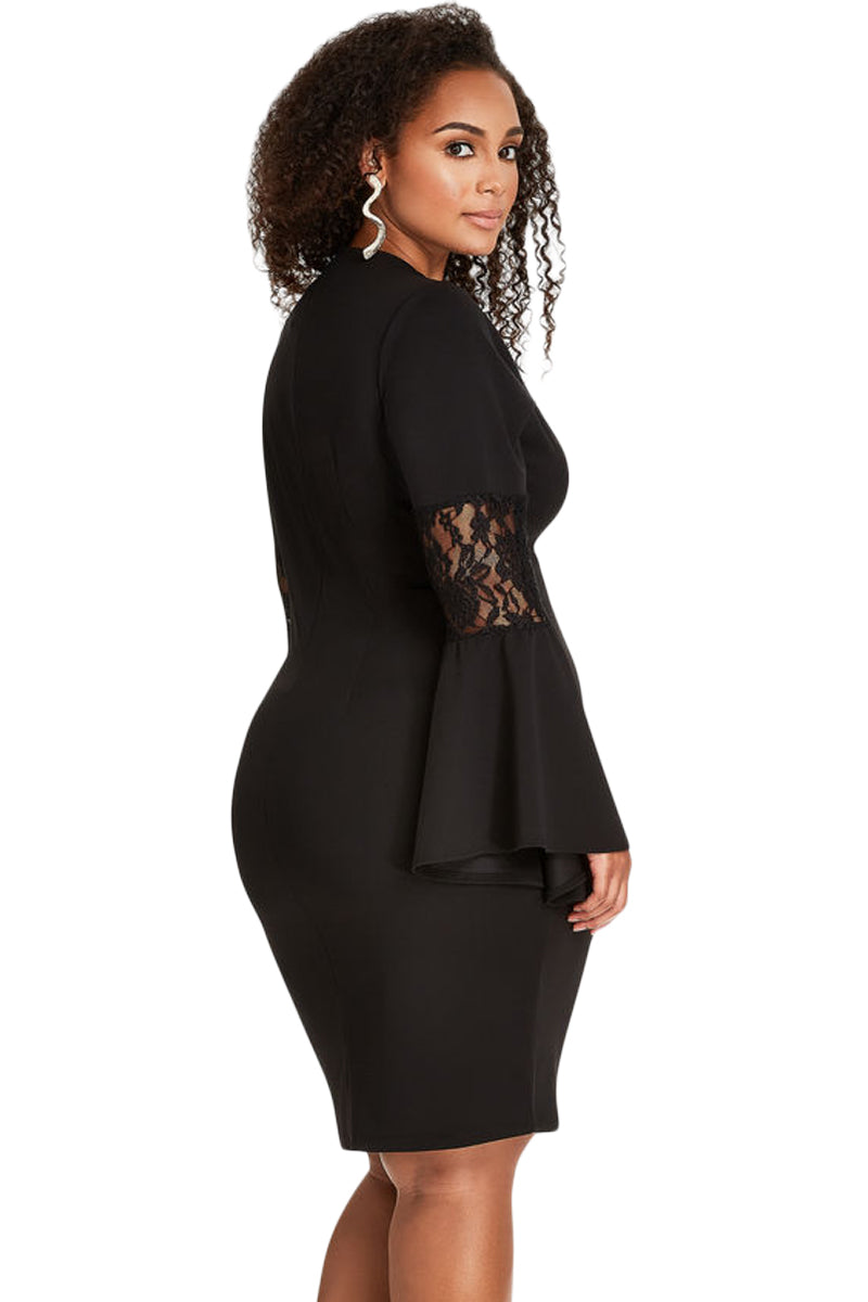 Black Lace Bell Sleeve Sheath Plus Size Dress LAVELIQ bd5bf36ba