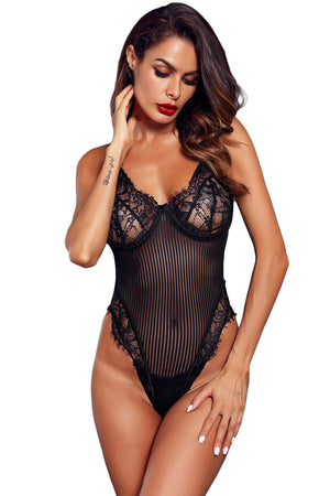 Black Lace Bust High Cut Bodysuit For Women LAVELIQ - Laveliqus