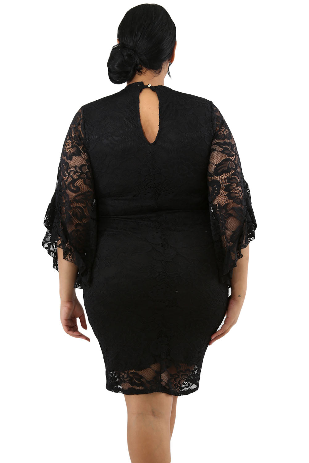 Black Lace Flare Bells Bodycon Plus Size Dress LAVELIQ - Laveliqus