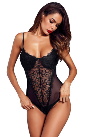 Black Lace Mesh Bodysuit Push Up Teddy Lingerie LAVELIQ - Laveliqus