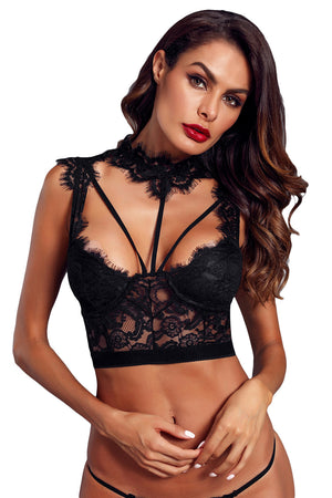 Black Lace Strappy Bustier Crop Top LAVELIQ - Laveliqus