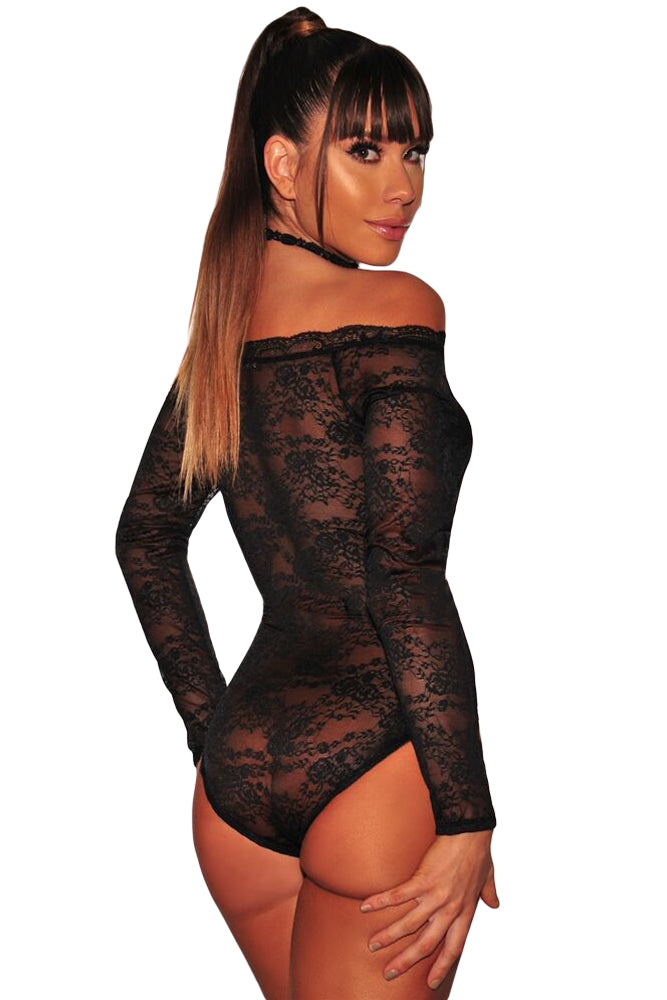 Black Long Sleeve Off Shoulder Lace Bodysuit Lingerie LAVELIQ