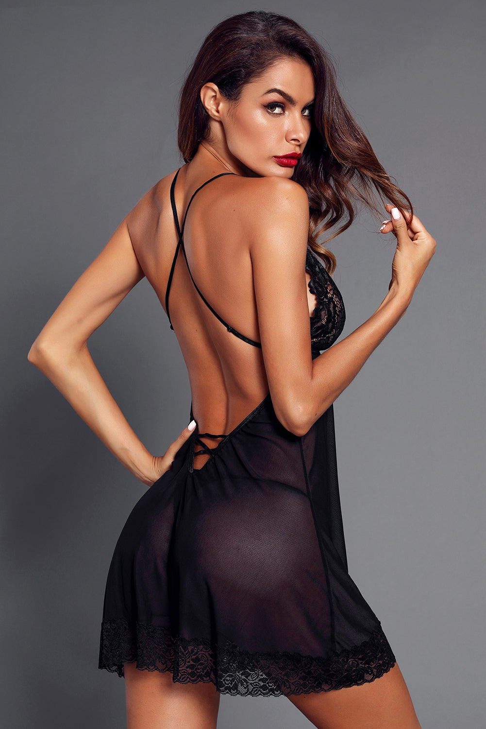 Black Low Back Crisscross Lace Trim Babydoll LAVELIQ