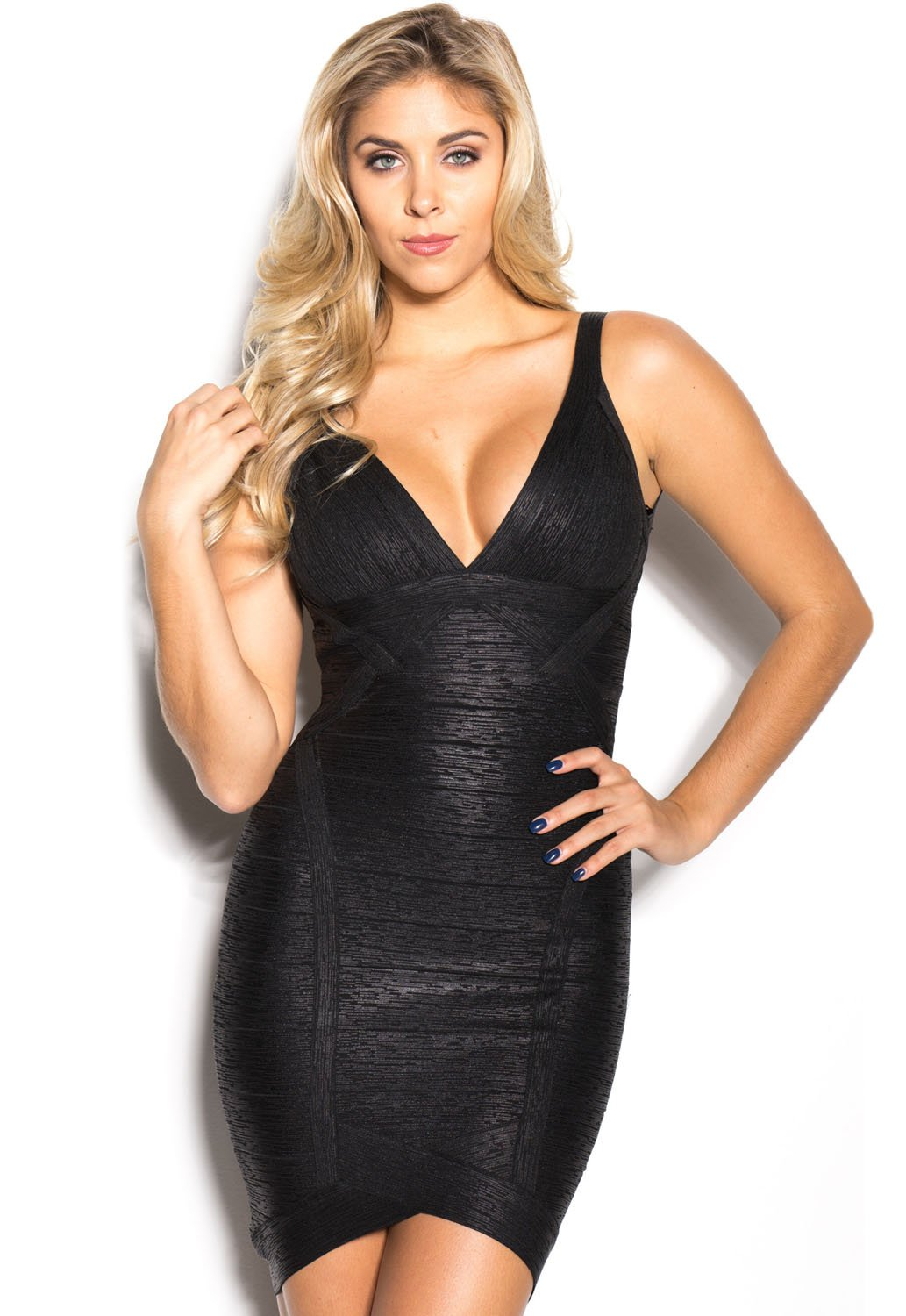 Black Metallic V-Neck Backless Bodycon Cocktail Party Bandage Dress LAVELIQ - Laveliqus